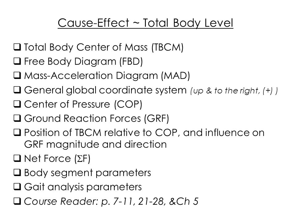 Cause-Effect ~ Total Body Level  Total Body Center of Mass (TBCM ...