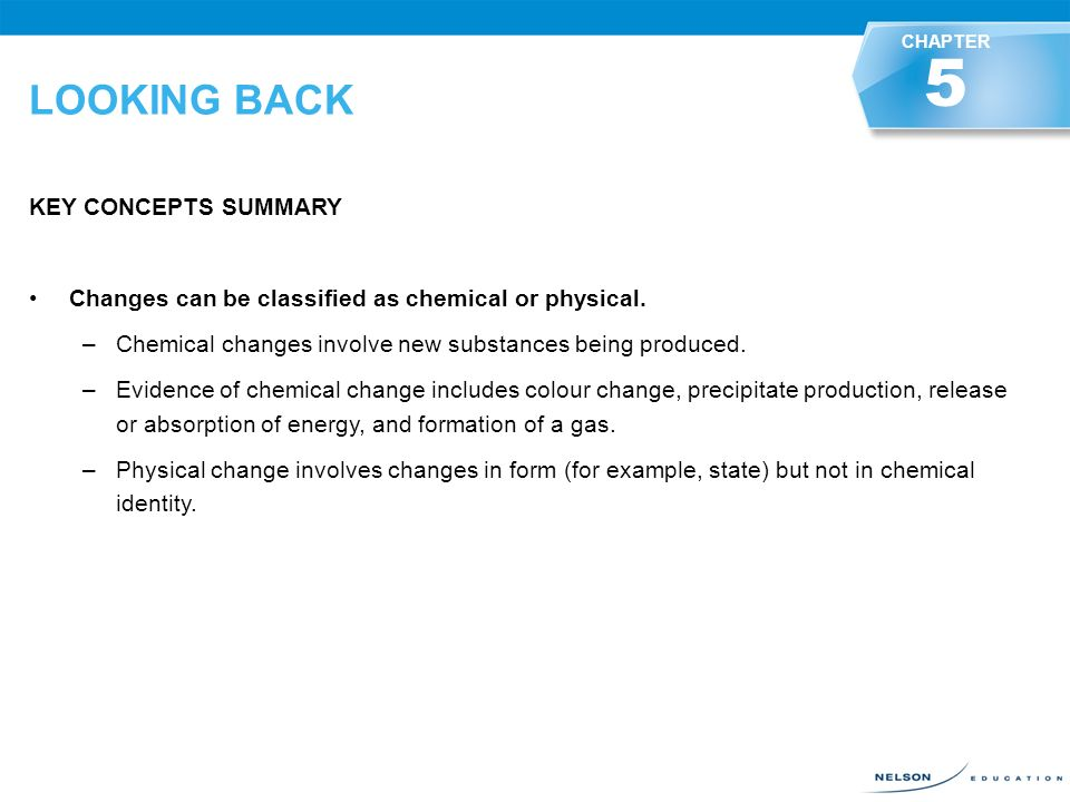 Looking Back Key Concepts Summary A Substance'S Chemical And