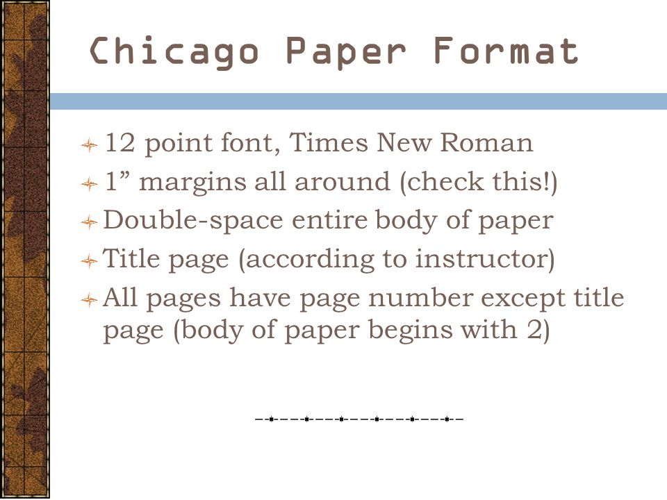 chicago format cover page