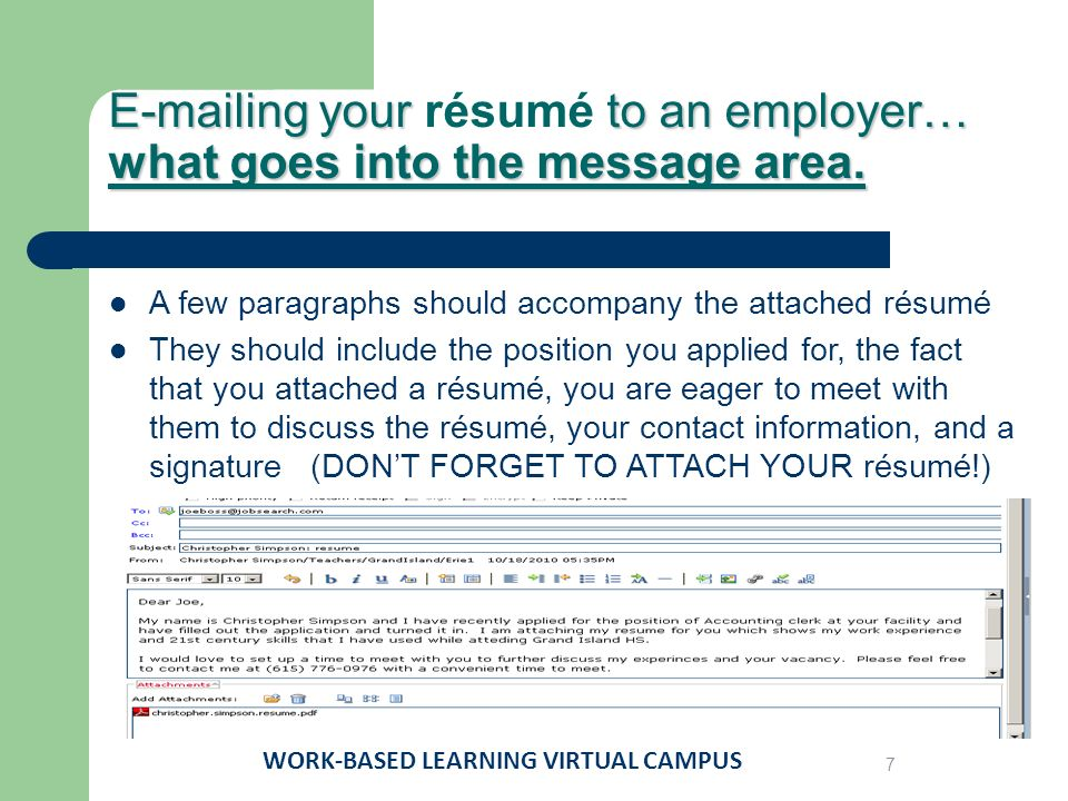 ing your to an employer ing your résumé to an employer work