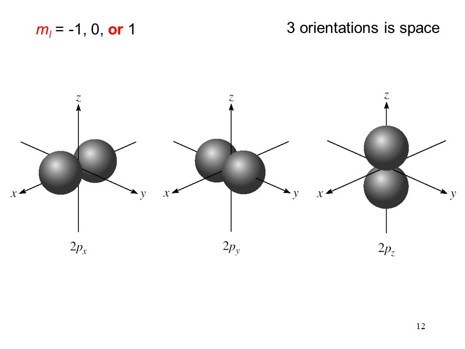 12 m l = -1, 0, or 1 3 orientations is space
