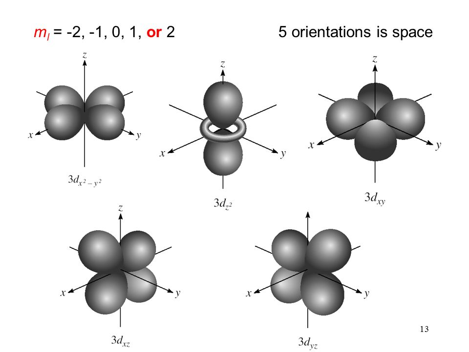 13 m l = -2, -1, 0, 1, or 25 orientations is space