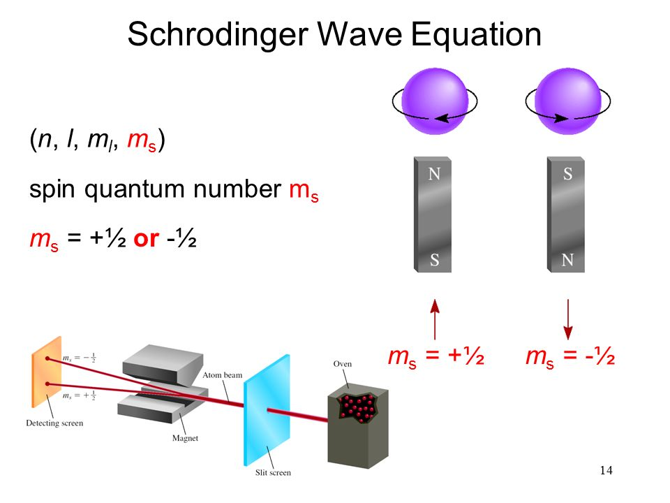 14 (n, l, m l, m s ) spin quantum number m s m s = +½ or -½ Schrodinger Wave Equation m s = -½m s = +½