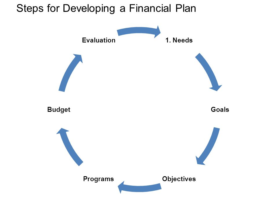 Steps for Developing a Financial Plan 1. Needs Goals ObjectivesPrograms Budget Evaluation