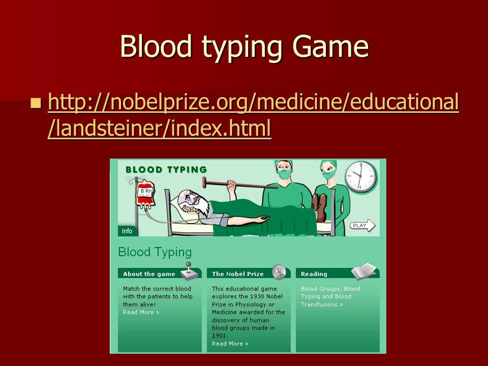 Blood typing Game http://nobelprize.org/medicine/educational /landsteiner/index.html http://nobelprize.org/medicine/educational /landsteiner/index.html http://nobelprize.org/medicine/educational /landsteiner/index.html http://nobelprize.org/medicine/educational /landsteiner/index.html