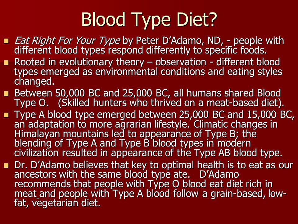 Blood Type Diet.