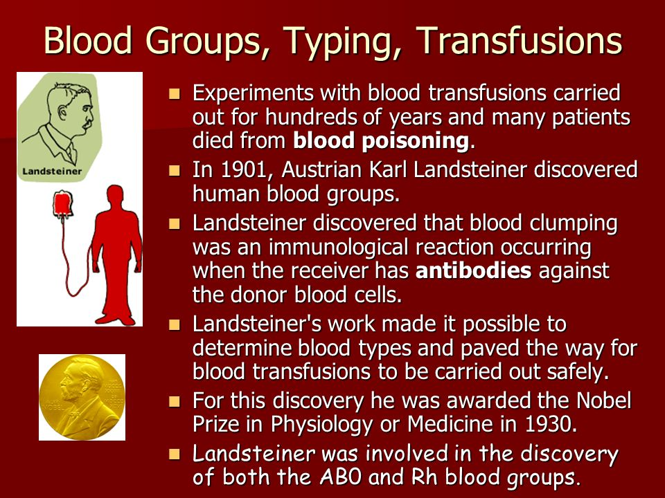 Blood Groups, Typing, Transfusions Experiments with blood transfusions carried out for hundreds of years and many patients died from blood poisoning.