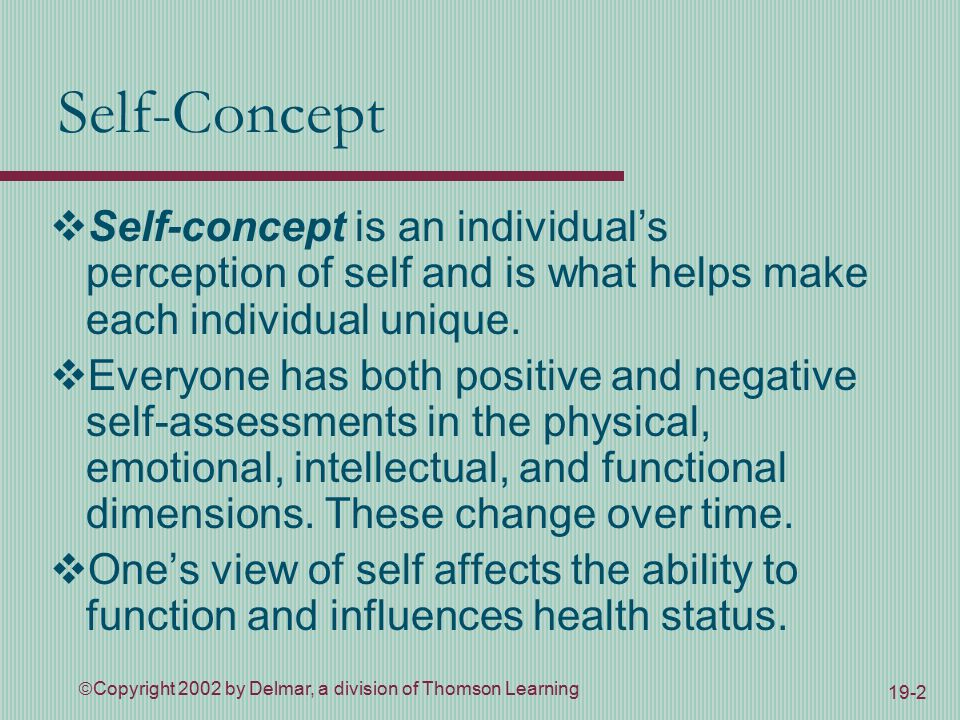  Copyright 2002 by Delmar, a division of Thomson Learning 19-2 Self-Concept  Self-concept is an individual's perception of self and is what helps make each individual unique.