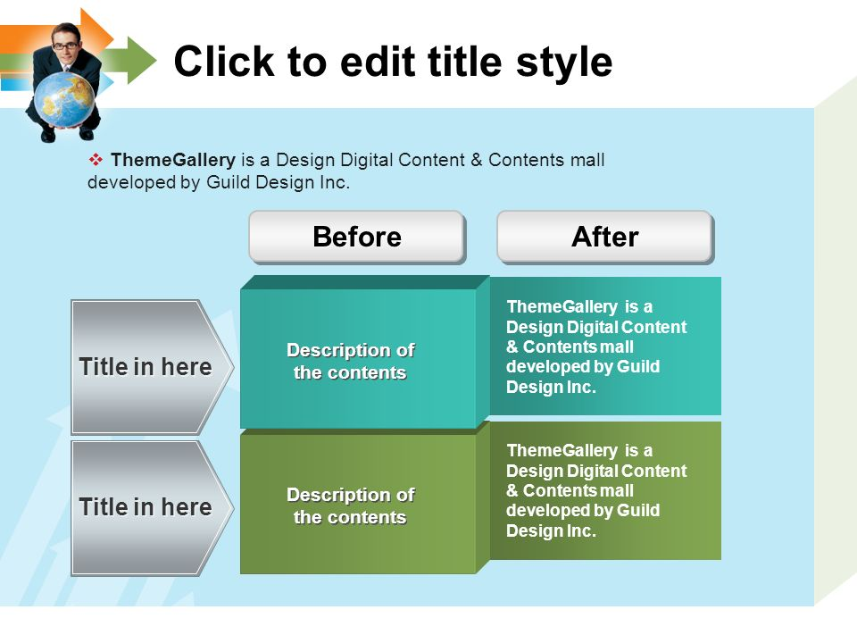 Click to edit title style  ThemeGallery is a Design Digital Content & Contents mall developed by Guild Design Inc.
