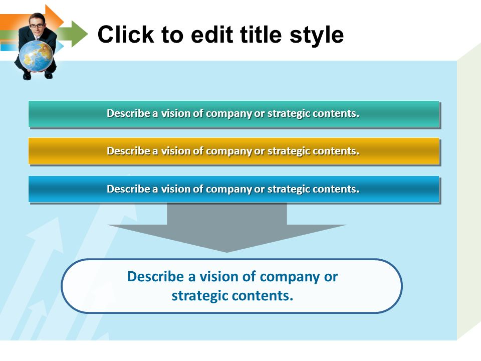 Describe a vision of company or strategic contents. Click to edit title style