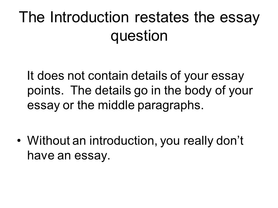 The Introduction restates the essay question It does not contain details of your essay points.