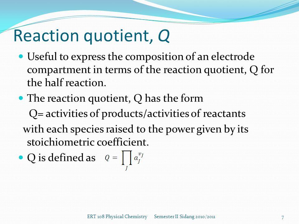 reaktionsquotient q definition