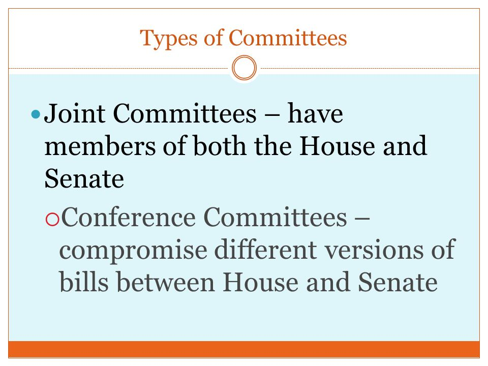 Types of Committees Select or Special Committees – Temporary committee to investigate wrongdoing or research a special matter  Examples: Senate Watergate Committee, Select Committee on Aging