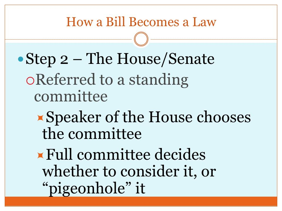 Step 1 – The House/Senate  Bill is introduced  Can only be introduced by a member of the House  Bill is read to the entire chamber