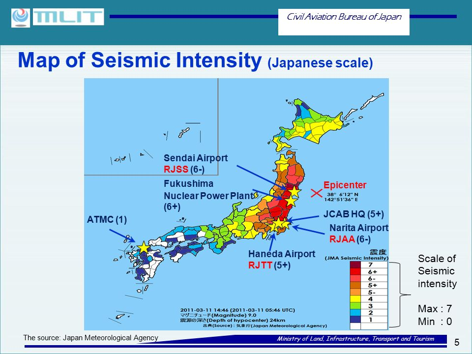 Civil Aviation Bureau of Japan Ministry of Land, Infrastructure, Transport and Tourism Map of Seismic Intensity (Japanese scale) 5 ATMC (1) Narita Airport RJAA (6-) Haneda Airport RJTT (5+) Epicenter Sendai Airport RJSS (6-) JCAB HQ (5+) Fukushima Nuclear Power Plant (6+) Scale of Seismic intensity Max : 7 Min : 0 The source: Japan Meteorological Agency