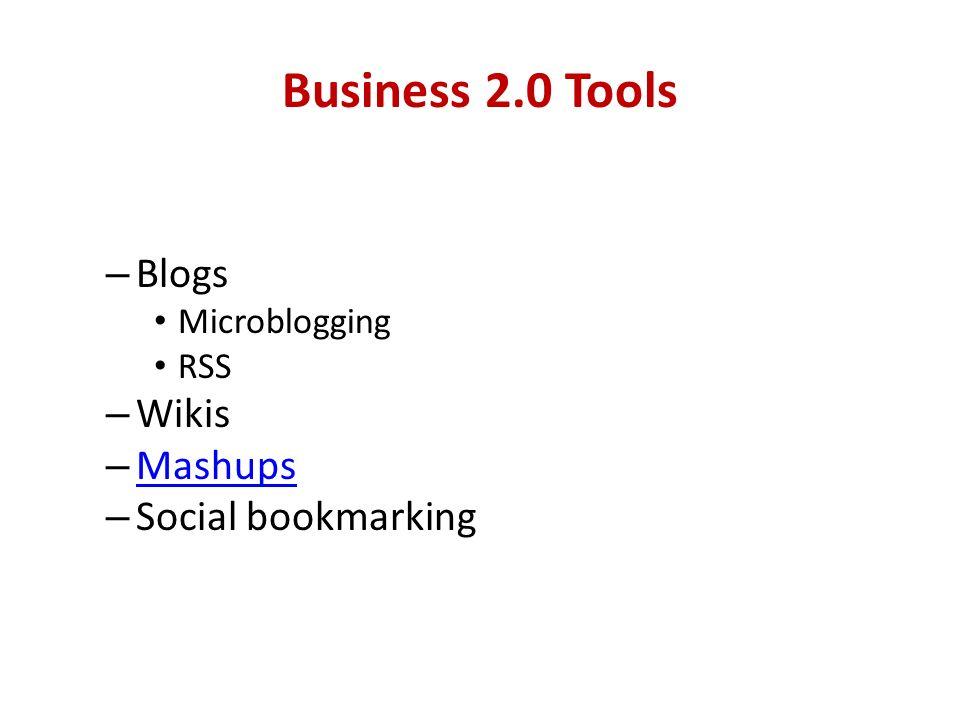 Business 2.0 Tools – Blogs Microblogging RSS – Wikis – Mashups Mashups – Social bookmarking