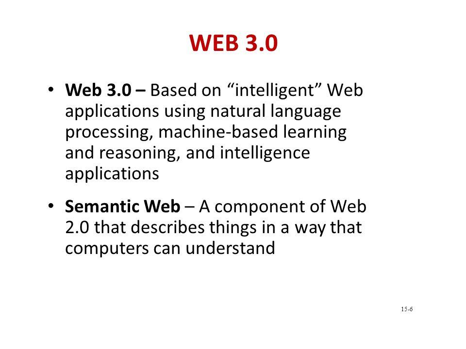 "WEB 3.0 Web 3.0 – Based on ""intelligent"" Web applications using natural language processing, machine-based learning and reasoning, and intelligence ap"