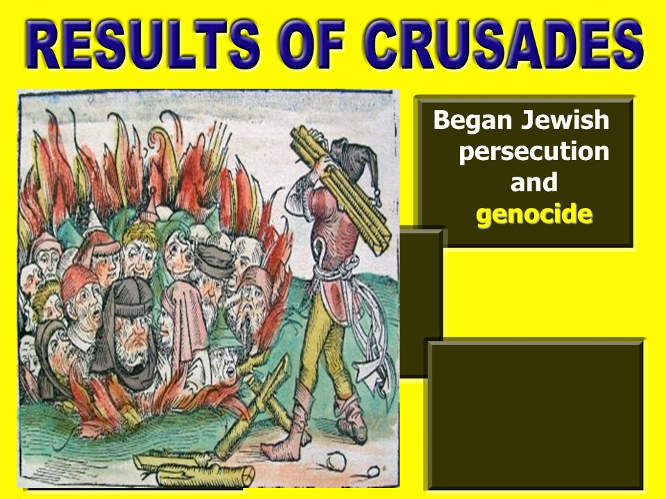 genocide Began Jewish persecution and genocide Increased wealth of Genoa and Venice, Italy