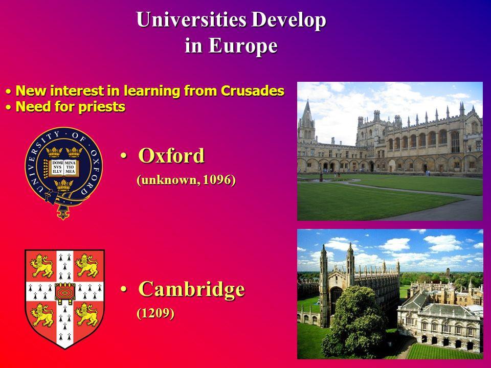 Universities Develop in Europe OxfordOxford (unknown, 1096) (unknown, 1096) CambridgeCambridge (1209) (1209) New interest in learning from Crusades New interest in learning from Crusades Need for priests Need for priests