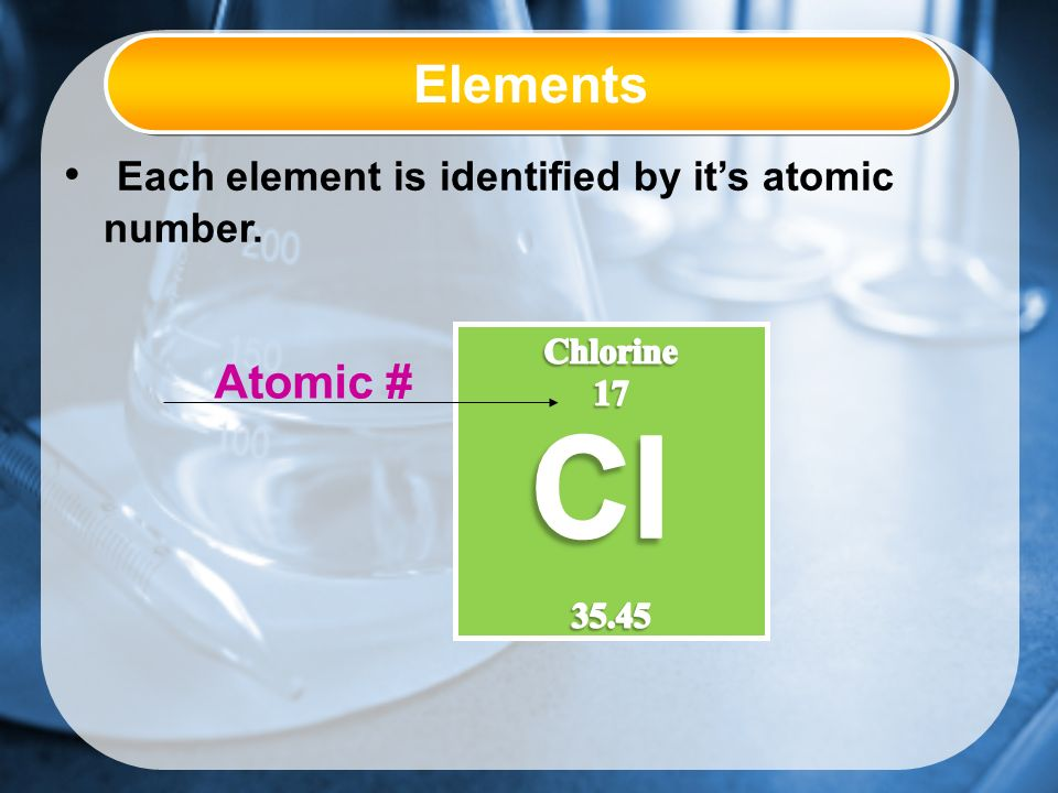 Elements Each element is identified by it's atomic number. Atomic #