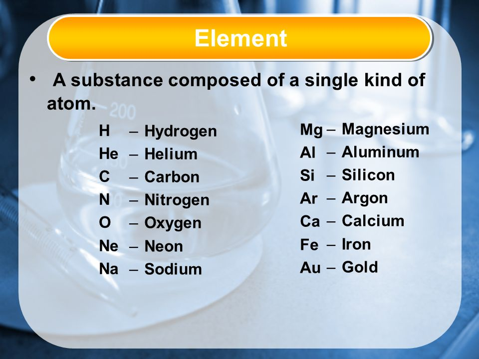 Element A substance composed of a single kind of atom.
