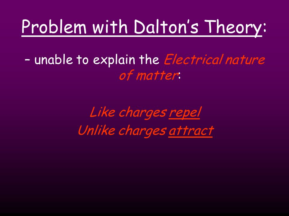 Problem with Dalton's Theory: – unable to explain the Electrical nature of matter: Like charges repel Unlike charges attract