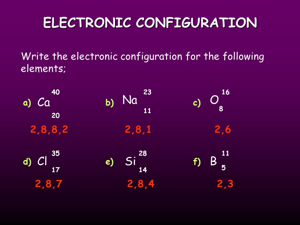 ELECTRONIC CONFIGURATION With electronic configuration elements are represented numerically by the number of electrons in their shells and number of shells.