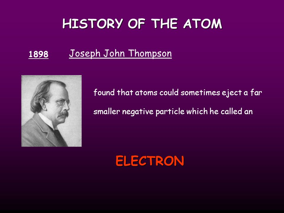HISTORY OF THE ATOM 1808 John Dalton suggested that all matter was made up of tiny spheres that were able to bounce around with perfect elasticity and called them ATOMIC THEORY All matter is made of atoms.