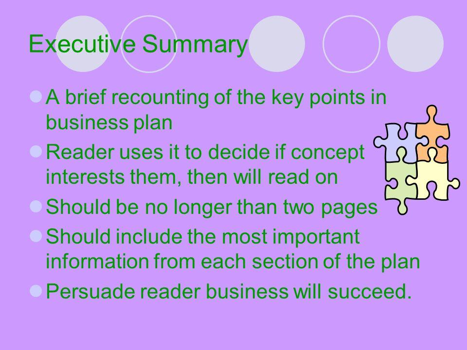 Business plan key points