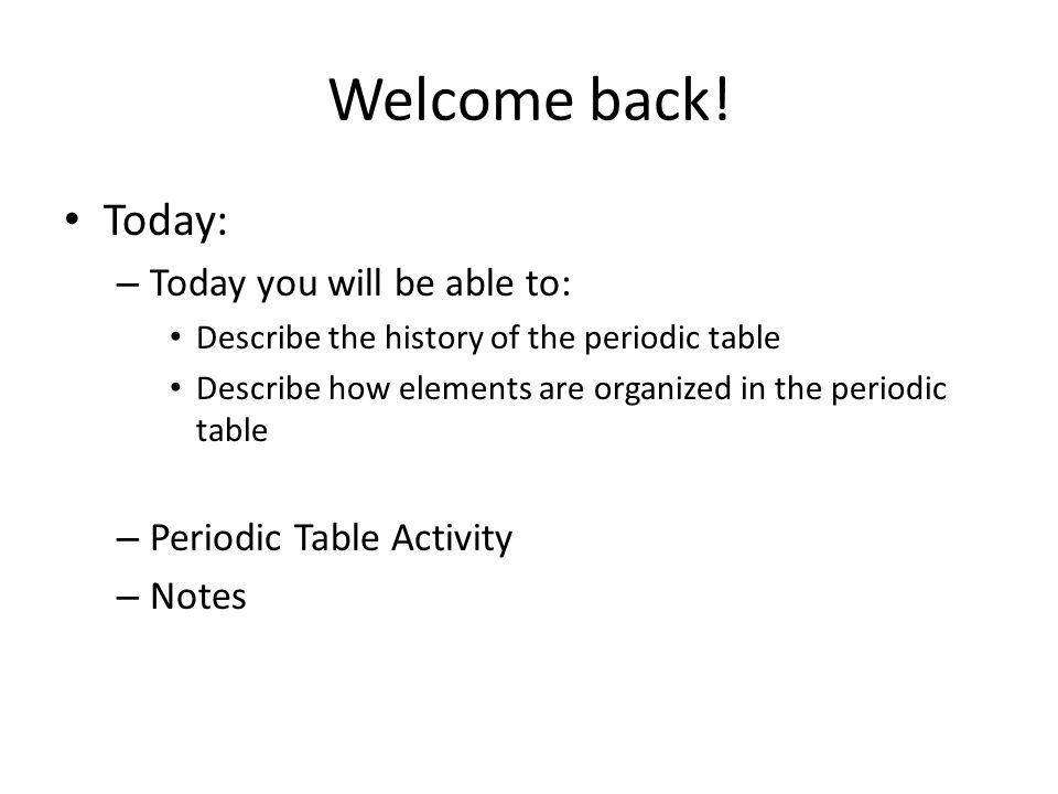 2 welcome back - Periodic Table History Activity