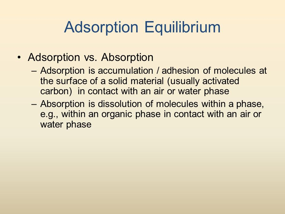Adsorption Equilibrium Adsorption vs.