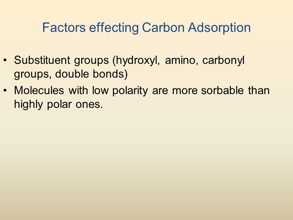 Factors effecting Carbon Adsorption Substituent groups (hydroxyl, amino, carbonyl groups, double bonds) Molecules with low polarity are more sorbable than highly polar ones.