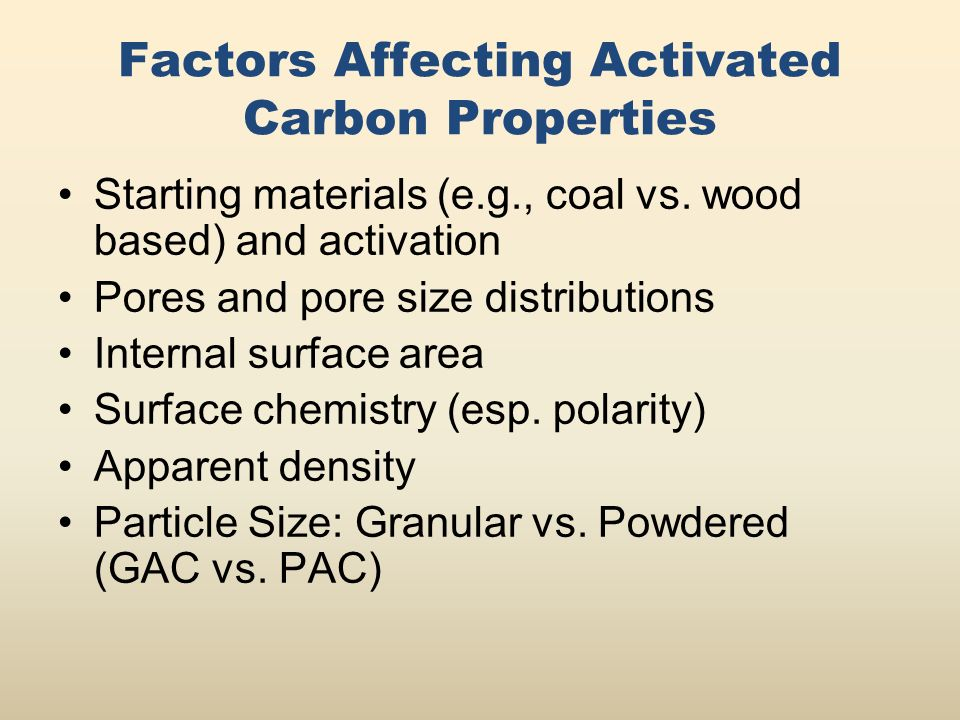 Factors Affecting Activated Carbon Properties Starting materials (e.g., coal vs.