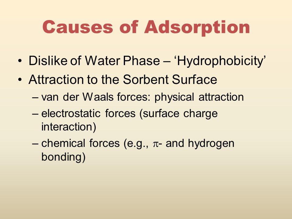 Causes of Adsorption Dislike of Water Phase – 'Hydrophobicity' Attraction to the Sorbent Surface –van der Waals forces: physical attraction –electrostatic forces (surface charge interaction) –chemical forces (e.g.,  - and hydrogen bonding)