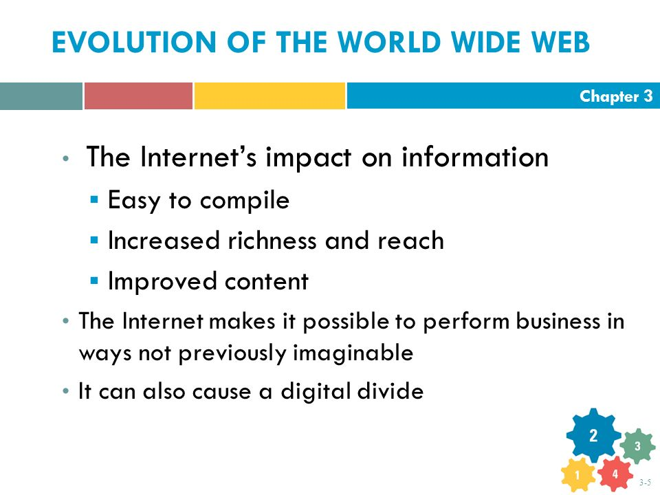 Chapter 3 3-5 EVOLUTION OF THE WORLD WIDE WEB The Internet's impact on information  Easy to compile  Increased richness and reach  Improved content The Internet makes it possible to perform business in ways not previously imaginable It can also cause a digital divide