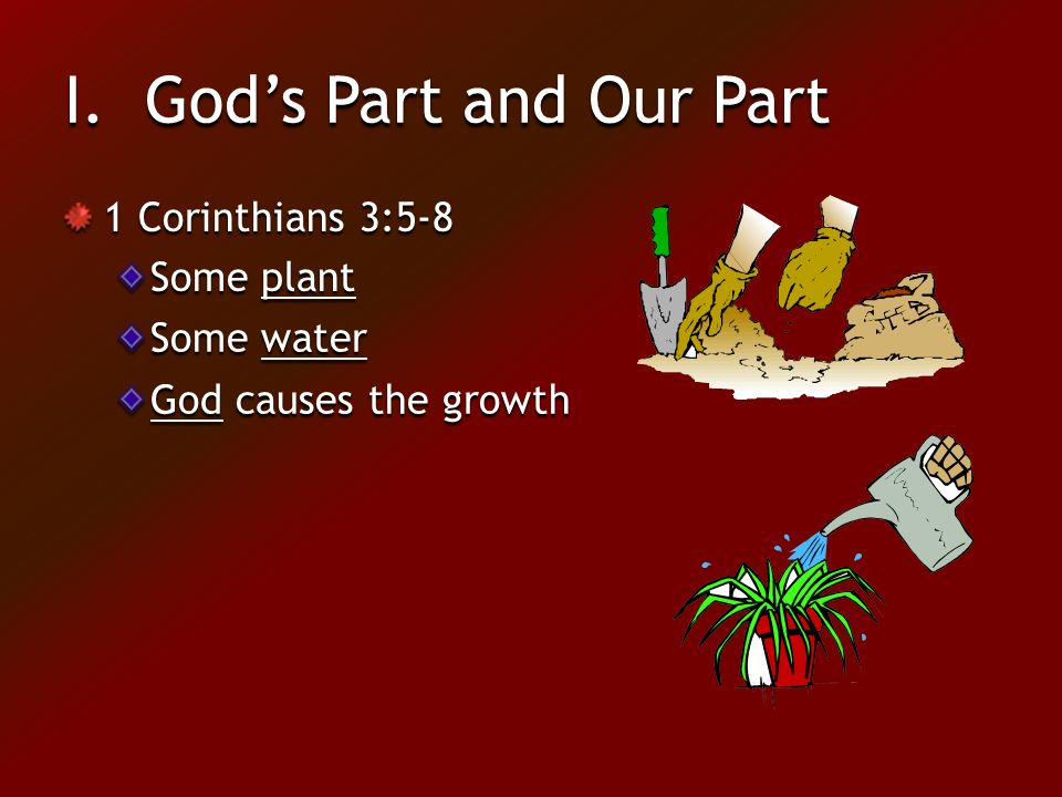 I. God's Part and Our Part 1 Corinthians 3:5-8 Some plant Some water God causes the growth