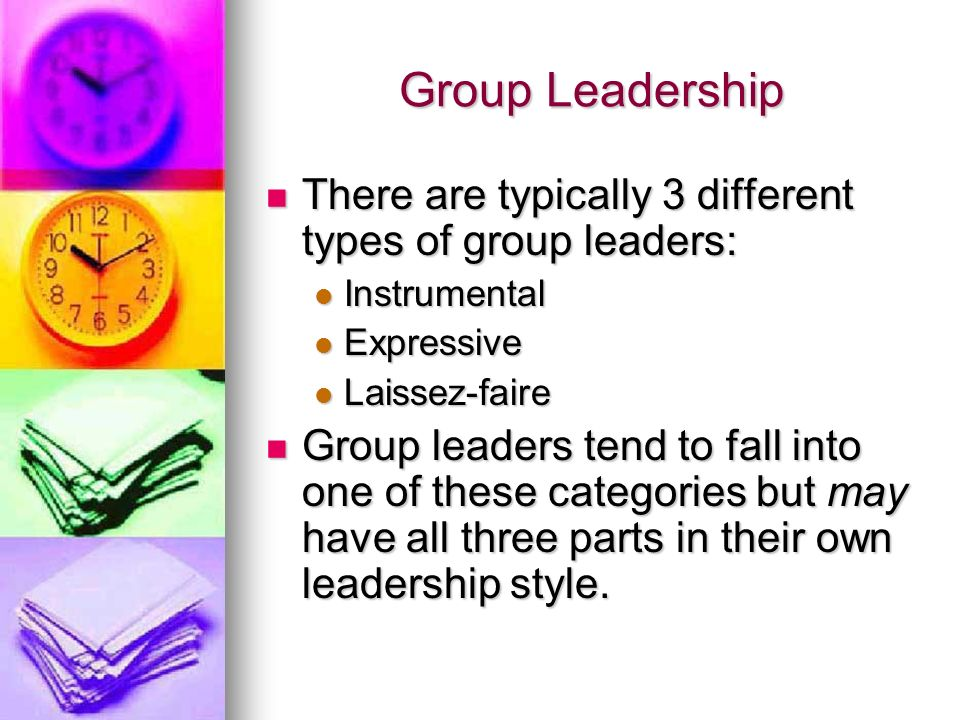 Group Leadership There are typically 3 different types of group leaders: There are typically 3 different types of group leaders: Instrumental Instrume
