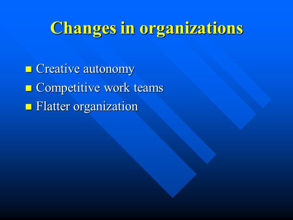 Changes in organizations n Creative autonomy n Competitive work teams n Flatter organization