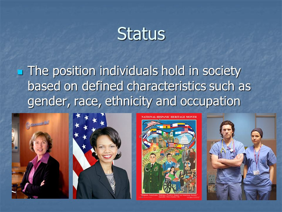 Status The position individuals hold in society based on defined characteristics such as gender, race, ethnicity and occupation The position individua