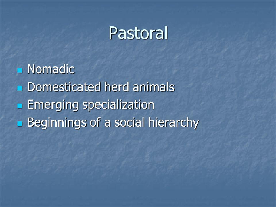 Pastoral Nomadic Nomadic Domesticated herd animals Domesticated herd animals Emerging specialization Emerging specialization Beginnings of a social hierarchy Beginnings of a social hierarchy