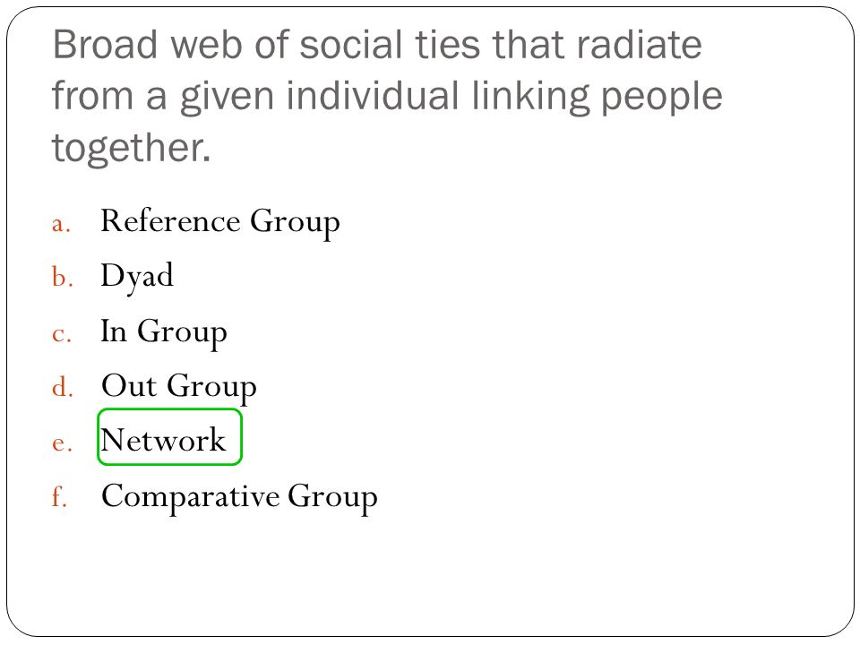 Broad web of social ties that radiate from a given individual linking people together. a. Reference Group b. Dyad c. In Group d. Out Group e. Network