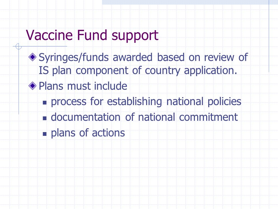 Vaccine Fund support Syringes/funds awarded based on review of IS plan component of country application.