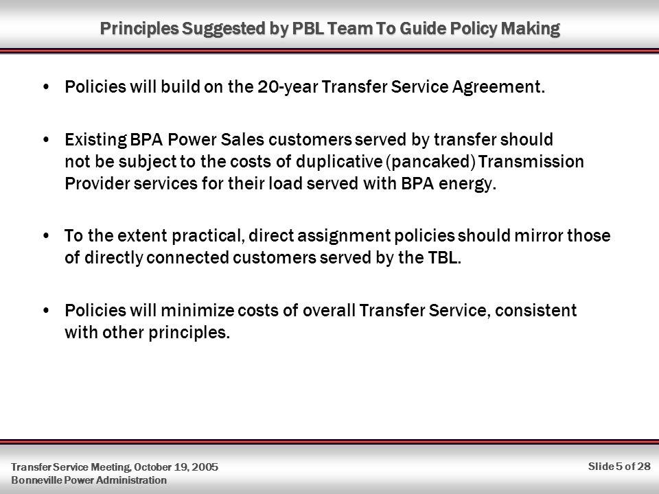 Transfer Service Meeting October 19 2005 Bonneville Power
