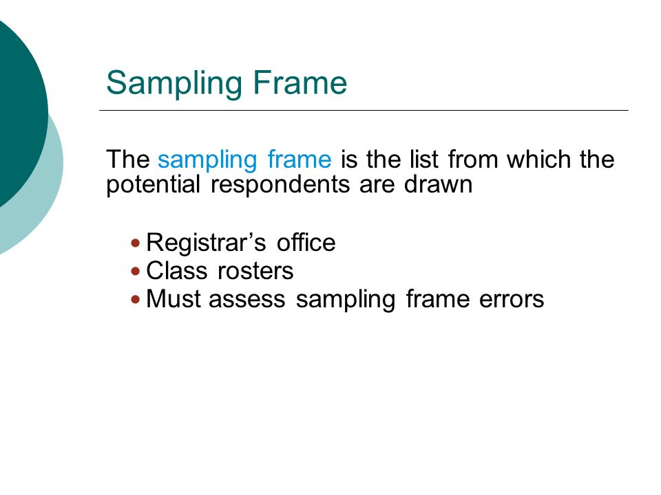 sampling frames Sampling: the basics sampling is an important component of any piece of research because of the significant the sampling frame is very similar to the population.
