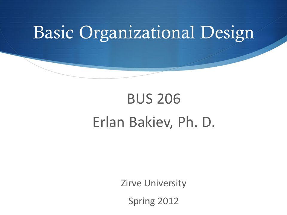 Basic Organizational Design BUS 206 Erlan Bakiev, Ph. D. Zirve University Spring 2012