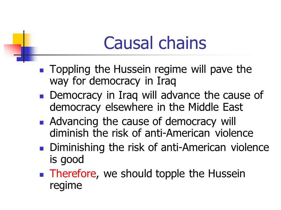 Causal chains Toppling the Hussein regime will pave the way for democracy in Iraq Democracy in Iraq will advance the cause of democracy elsewhere in the Middle East Advancing the cause of democracy will diminish the risk of anti-American violence Diminishing the risk of anti-American violence is good Therefore, we should topple the Hussein regime