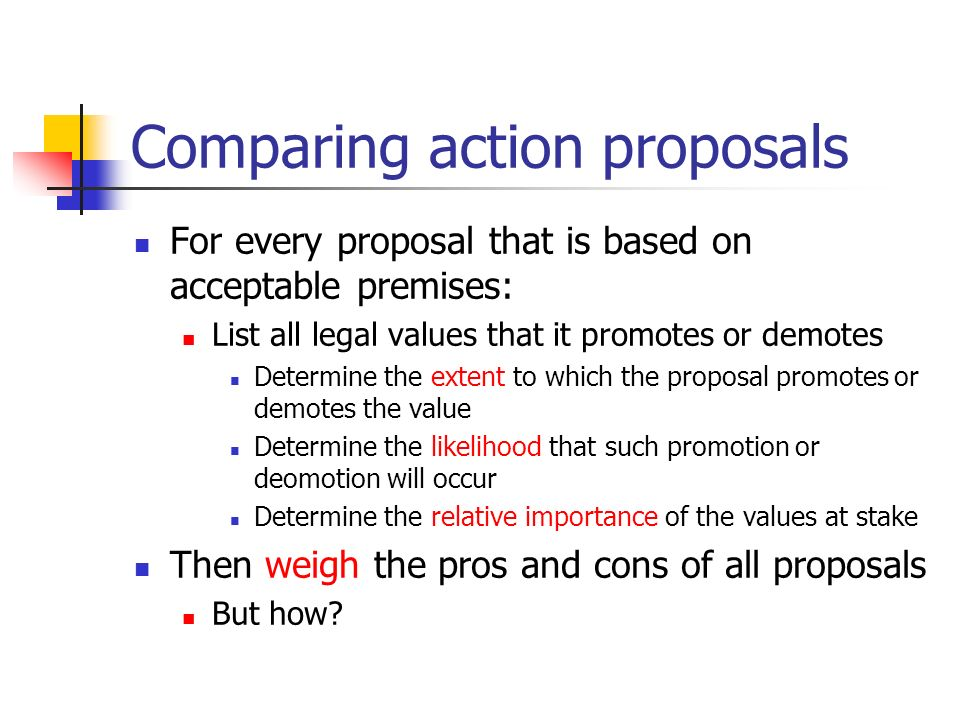 Comparing action proposals For every proposal that is based on acceptable premises: List all legal values that it promotes or demotes Determine the extent to which the proposal promotes or demotes the value Determine the likelihood that such promotion or deomotion will occur Determine the relative importance of the values at stake Then weigh the pros and cons of all proposals But how