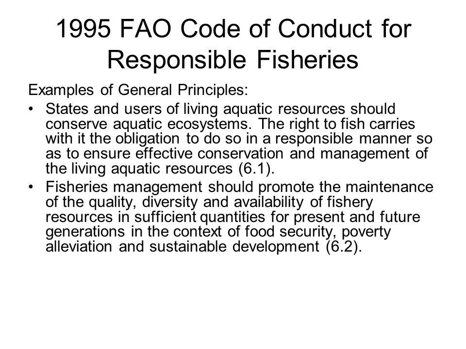 1995 FAO Code of Conduct for Responsible Fisheries Examples of General Principles: States and users of living aquatic resources should conserve aquatic ecosystems.