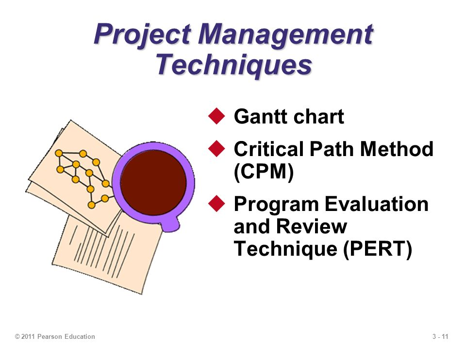 3 - 11© 2011 Pearson Education  Gantt chart  Critical Path Method (CPM)  Program Evaluation and Review Technique (PERT) Project Management Techniques