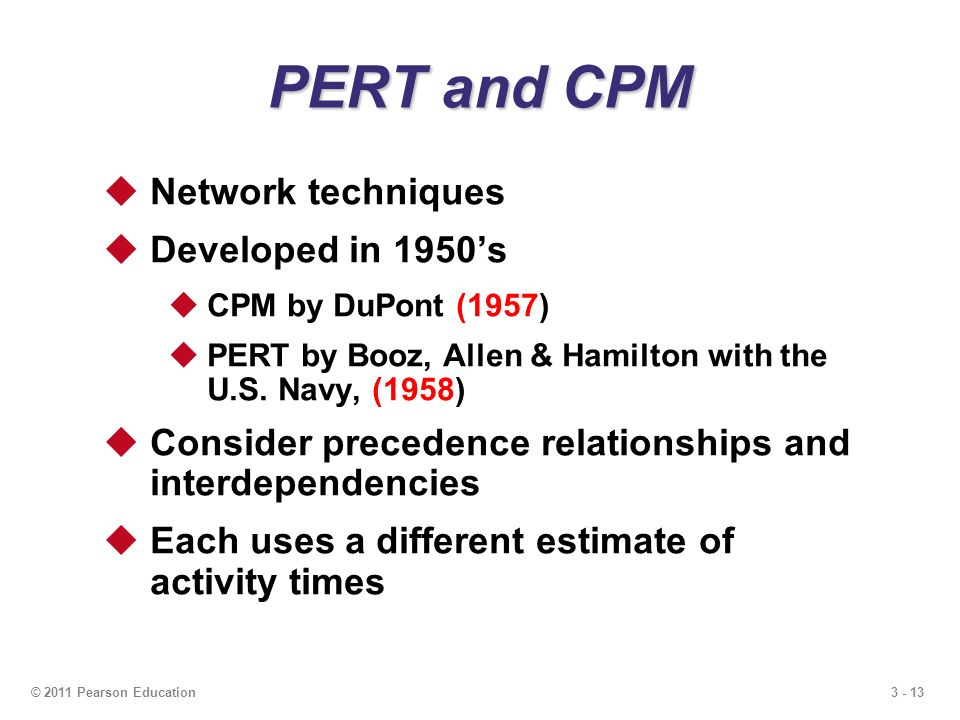 3 - 13© 2011 Pearson Education  Network techniques  Developed in 1950's  CPM by DuPont (1957)  PERT by Booz, Allen & Hamilton with the U.S.